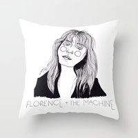 florence Throw Pillows featuring Florence by ☿ cactei ☿