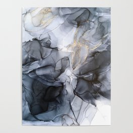 Calm but Dramatic Light Monochromatic Black & Grey Abstract Poster