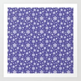 Purple Holiday Snowflake Pattern Art Print