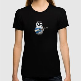 Baby Penguin Playing Salvadorian Flag Acoustic Guitar T-shirt