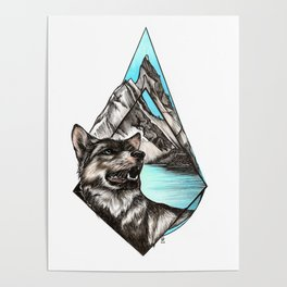 Wolf in Mountains Poster