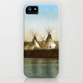 Crow Indian Camp on the Rivers Edge iPhone Case