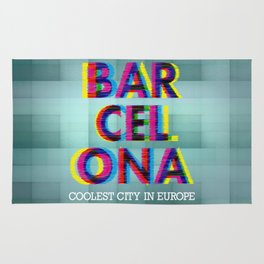 Barcelona Glitch Psychedelic Rug
