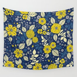 Yellow & Blue Floral Pattern Wall Tapestry