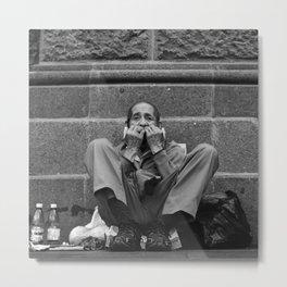 Homeless Frog Man Metal Print