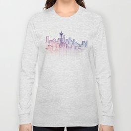 Seattle Skyline Watercolor Long Sleeve T-shirt