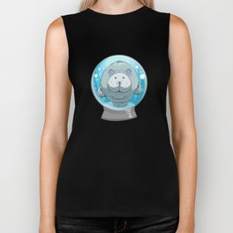 Cute Manatee in a Snow Globe Sea Cow Biker Tank