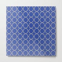 Blue Quatrefoil Pattern Metal Print
