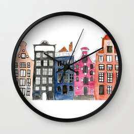 Amsterdam Canal Houses Wall Clock