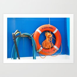 Life buoy hanging on a boat. Art Print