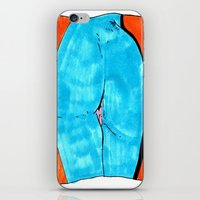 butt iPhone & iPod Skins featuring blue butt by withapencilinhand