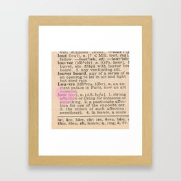 Love Dictionary Page With Sketchy Pink Heart Framed Art Print