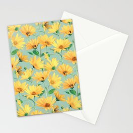 Painted Golden Yellow Daisies on soft sage green Stationery Cards