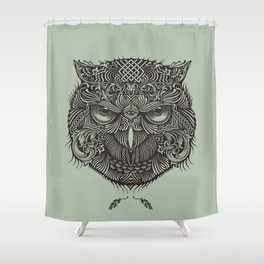 Warrior Owl Face Shower Curtain