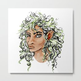 Female elf profile 1a Metal Print