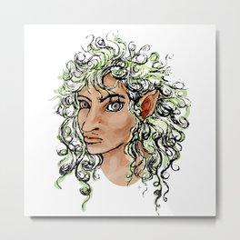 Female elf profile 1a Metal Print