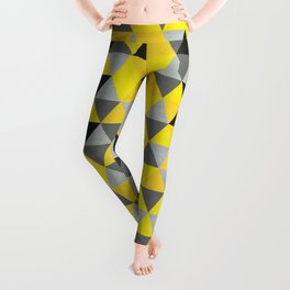 Sunny Yellow and Grey / Gray - Hipster Geometric Triangle Pattern Leggings