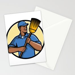 African American Street Sweeper or Cleaner Mascot Stationery Cards
