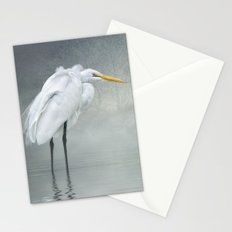Egret in winter breeze Stationery Cards
