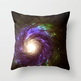 Spinning galaxy being sucking into supermassive black hole at center Throw Pillow