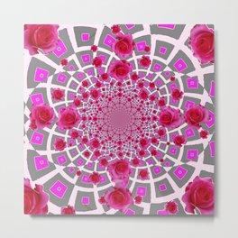 PURPLE OPTICAL GREY  ART RED &  PINK ROSE PATTERN Metal Print