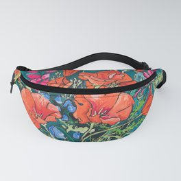 California Poppy and Wildflower Bouquet on Emerald with Tigers Still Life Painting Fanny Pack
