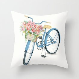 Blue Bicycle with Flowers in Basket Throw Pillow