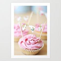 bunting cupcakes Art Print