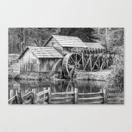 Mabry Mill Black and White - Blue Ridge Parkway Canvas Print