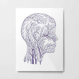 Head Profile Branches - Ultra Violet Metal Print