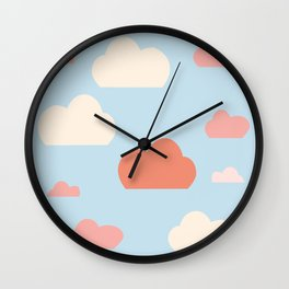 cloud blue and pink Wall Clock