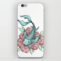 koi fish iPhone & iPod Skins featuring Koi Fish by Bare Wolfe