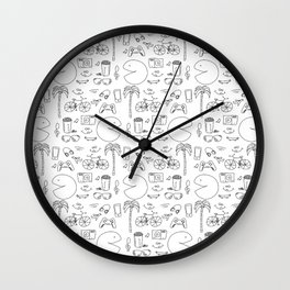 Hipster Lifestyle Icons Pattern Wall Clock