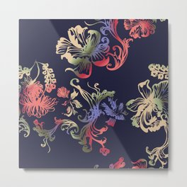 Japanese Brocade print Metal Print