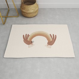 Reframing - Hands and Rainbow Rug