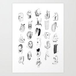 Alphabet Friends Art Print