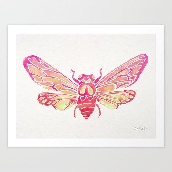 Summer Cicada – Pink Palette Art Print