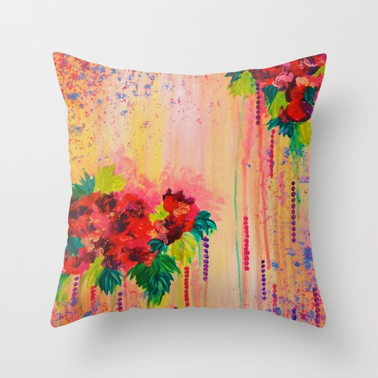 STRAWBERRY CONFETTI PAINTING Abstract Acrylic Floral Beautiful Feminine Flower Bouquet Girlie Pink Throw Pillow