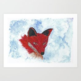 Original Watercolour and Ink Fox Art Print