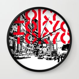 Toky City Red White Black Wall Clock
