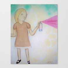 Spray Paint Girl Canvas Print