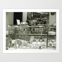La Boqueria Butcher, Barcelona Art Print
