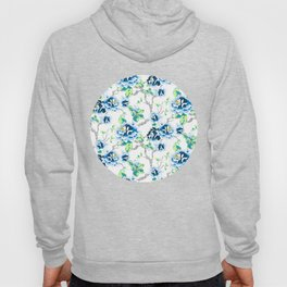Chinoiserie Ming style Blue Floral on White Pattern Spring Flowers Shabby Chic Hoody