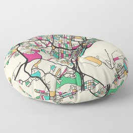 Colorful City Maps: Durban, South Africa Floor Pillow