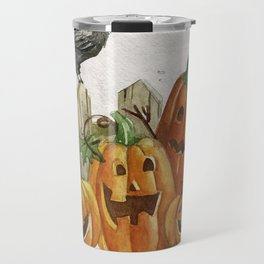 Pumpkins And The Raven Halloween Travel Mug