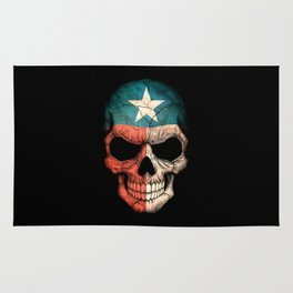Dark Skull with Flag of Texas Rug