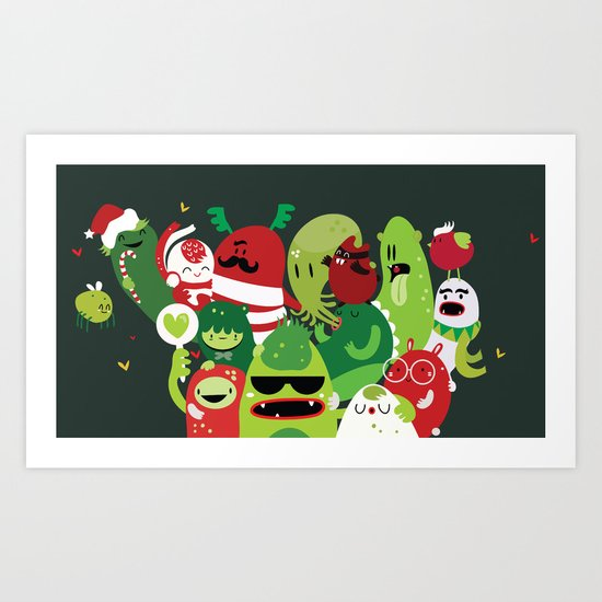 Xmas monsters Art Print