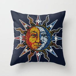 Celestial Mosaic Sun and Moon Throw Pillow