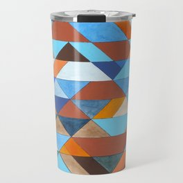 Triangle Pattern no.18 blue and orange Travel Mug