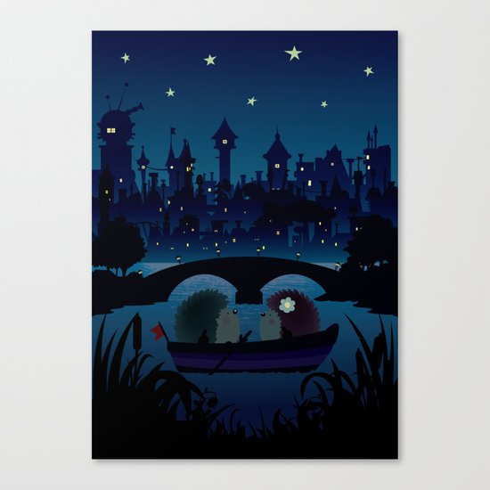 Hedgehogs in the night Canvas Print